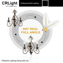 Load image into Gallery viewer, CRLight 2W 250LM Dimmable LED Filament Retro Candelabra Bulbs 5000K Daylight  White, E12 Base, 25W Incandescent Equivalent, Frosted Glass Bullet Top, 6 Pack