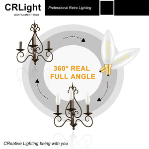 CRLight 2W 250LM Dimmable LED Filament Retro Candelabra Bulbs 5000K Daylight  White, E12 Base, 25W Incandescent Equivalent, Frosted Glass Bullet Top, 6 Pack