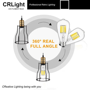 CRLight 10W 5000K LED Edison Bulb Daylight White 1000LM, 100W Incandescent Equivalent E26 Base ST64 Vintage Filament Bulbs, 3 Pack