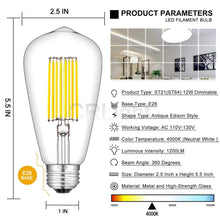 Load image into Gallery viewer, CRLight 12W 4000K Dimmable LED Edison Bulb Daylight (Neutral White) 1200LM, 120W Incandescent Equivalent E26 Base ST64 Vintage Filament Bulbs, 2 Pack