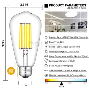 CRLight 12W 4000K Dimmable LED Edison Bulb Daylight (Neutral White) 1200LM, 120W Incandescent Equivalent E26 Base ST64 Vintage Filament Bulbs, 2 Pack