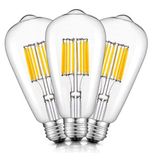 Load image into Gallery viewer, CRLight 10W 2700K LED Edison Bulb Warm White 1000LM, 100W Incandescent Equivalent E26 Base ST64 Vintage Filament Bulbs, 3 Pack