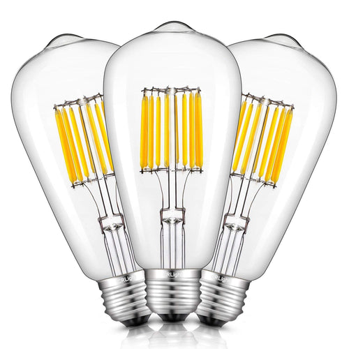 CRLight 10W 2700K LED Edison Bulb Warm White 1000LM, 100W Incandescent Equivalent E26 Base ST64 Vintage Filament Bulbs, 3 Pack