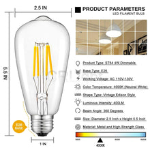 Load image into Gallery viewer, CRLight 4W 4000K Dimmable LED Edison Bulb Daylight (Neutral White) 400LM, 40W Incandescent Equivalent E26 Base ST64 Vintage Filament Bulbs, 6 Pack
