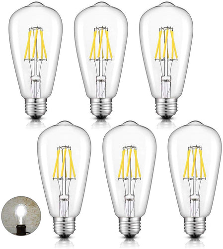 CRLight 6W 5000K Dimmable LED Edison Bulb Daylight White 700LM, 70W Incandescent Equivalent E26 Base ST64 Vintage Filament Bulbs, 6 Pack