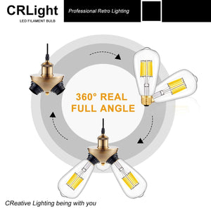 CRLight 10W 3000K Dimmable LED Edison Bulb Soft White 1000LM , 100W Incandescent Equivalent E26 Base ST64 Vintage Filament Bulbs, 2 Pack