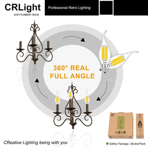 CRLight 6W 700LM Dimmable LED Filament Retro Candelabra Bulbs 3200K Soft White, E12 Base, 70W Incandescent Equivalent, Clear Glass Flame Shape, 6 Pack