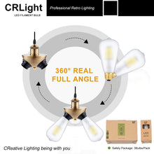 Load image into Gallery viewer, CRLight 8W 3200K Dimmable LED Edison Bulb Soft White 800LM, 80W Incandescent Equivalent E26 Base ST64 Vintage Filament Bulbs, 3 Pack