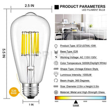 Load image into Gallery viewer, CRLight 10W 5000K LED Edison Bulb Daylight White 1000LM, 100W Incandescent Equivalent E26 Base ST64 Vintage Filament Bulbs, 3 Pack