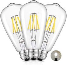 Load image into Gallery viewer, CRLight 6W 5000K Dimmable LED Edison Bulb Daylight White 700LM, 70W Incandescent Equivalent E26 Base ST64 Vintage Filament Bulbs, 3 Pack