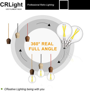 CRLight 2W 300LM Dimmable LED Filament Candelabra Bulbs 5000K Daylight White, E12 Base, 30W Incandescent Equivalent, G50 Clear Glass Globe Shape, 8 Pack