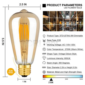CRLight 8W 2700K Dimmable LED Edison Bulb Warm White 800LM, 80W Incandescent Equivalent E26 Base ST64 Vintage Filament Bulbs, 3 Pack