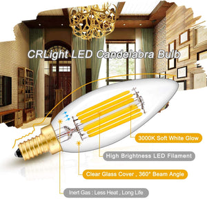 CRLight 6W Dimmable LED Candelabra Bulb 65W Equivalent 650LM, 3000K Soft White E12 Base LED Filament Light Bulbs, B10 Candle Clear Glass Decorative Chandelier Bulbs, Smooth Dimming Version, 1 Pack