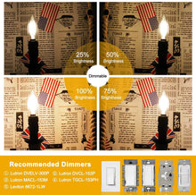 Load image into Gallery viewer, CRLight 6W Dimmable LED Candelabra Bulb 65W Equivalent 650LM, 3000K Soft White E12 Base LED Filament Light Bulbs, B10 Candle Clear Glass Decorative Chandelier Bulbs, Smooth Dimming Version, 1 Pack