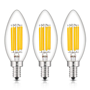 CRLight 6W 700LM Dimmable LED Filament Retro Candelabra Bulbs 2700K Warm White, E12 Base, 60W Incandescent Equivalent, Clear Glass Bullet Top, 3 Pack