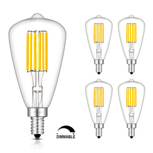 CRLight 6W 700LM Dimmable LED Filament Retro Candelabra Bulbs 3000K Soft White, E12 Base, 70W Incandescent Equivalent, ST48 Edison Style, 4 Pack
