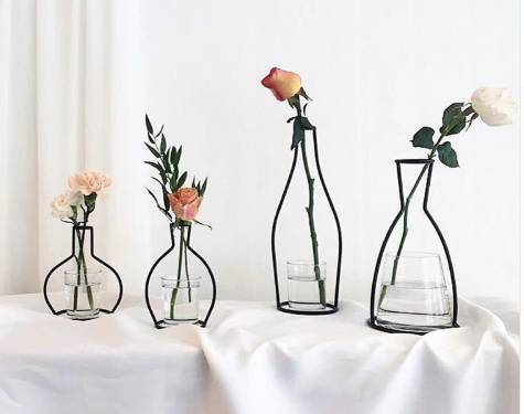 Wrought Iron Transparent Vase