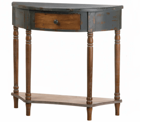 Wood Half Moon Hall Table