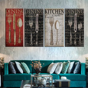 4 pcs Canvas Painting Knife and Fork Art