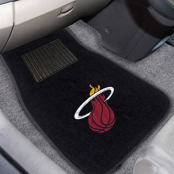 "NBA - Miami Heat Embroidered Car Mat Set 17"" x 25.5"""