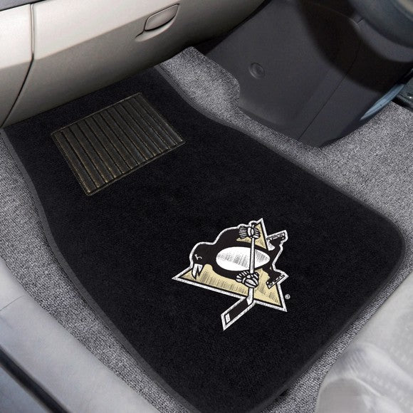 "NHL - Pittsburgh Penguins Embroidered Car Mat Set 17"" x 25.5"""