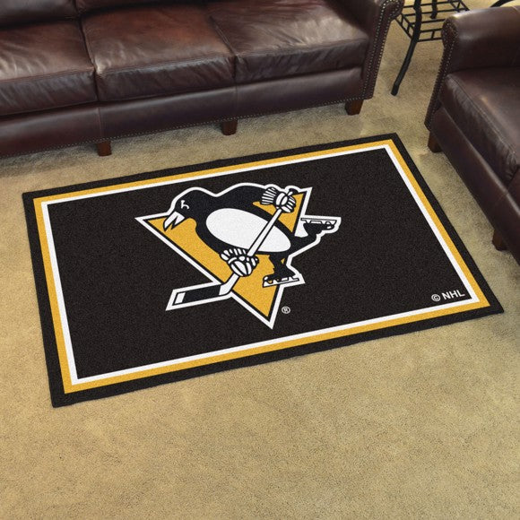 "NHL - Pittsburgh Penguins 4'x6' Plush Rug 44"" x 71"""