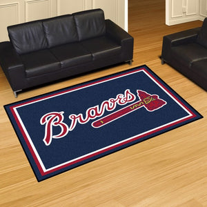 "MLB - Atlanta Braves 5'x8' Plush Rug 59.5"" x 88"""