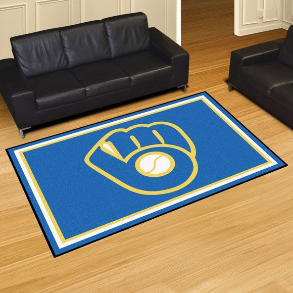 MLB - Milwaukee Brewers 5'x8' Plush Rug 59.5