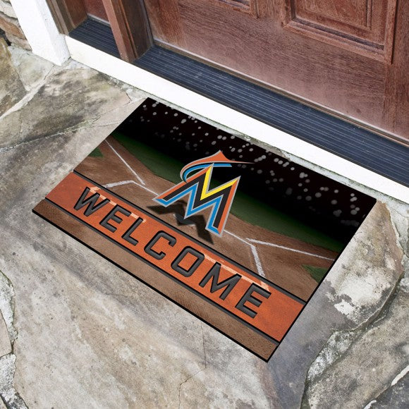 "MLB - Miami Marlins Crumb Rubber Door Mat 18"" x 30"""