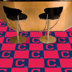 "MLB - Cleveland Indians Team Carpet Tiles 18"" x 18"""