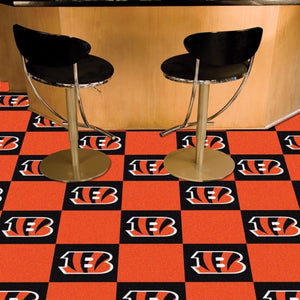 "NFL - Cincinnati Bengals Team Carpet Tiles 18"" x 18"""