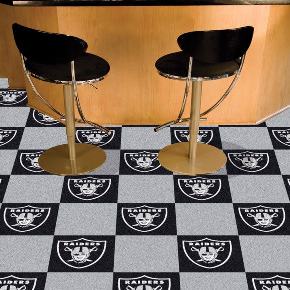 "NFL - Oakland Raiders Team Carpet Tiles 18"" x 18"""