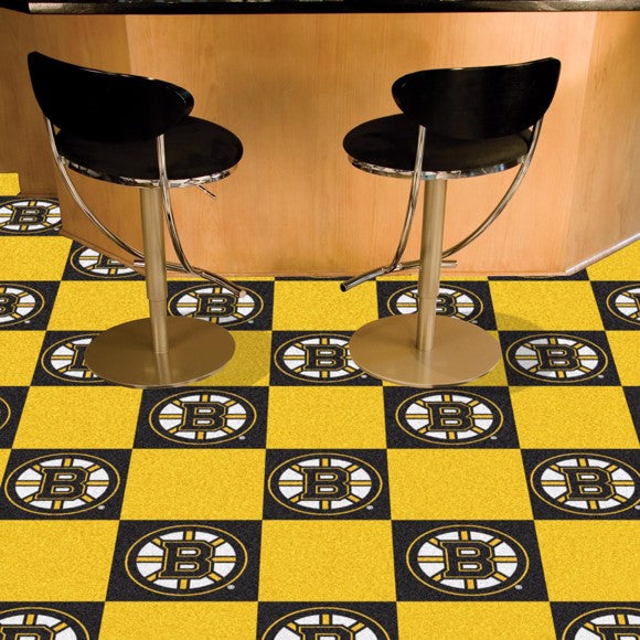 "NHL - Boston Bruins Team Carpet Tiles 18"" x 18"""