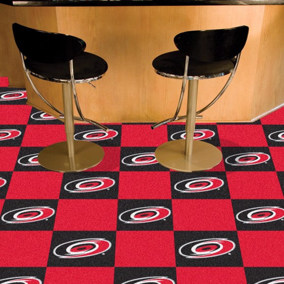 "NHL - Carolina Hurricanes Team Carpet Tiles 18"" x 18"""