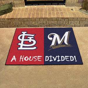 "MLB House Divided - Cardinals / Brewers 33.75"" x 42.5"""