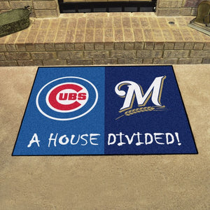 "MLB House Divided - Cubs / Brewers 33.75"" x 42.5"""