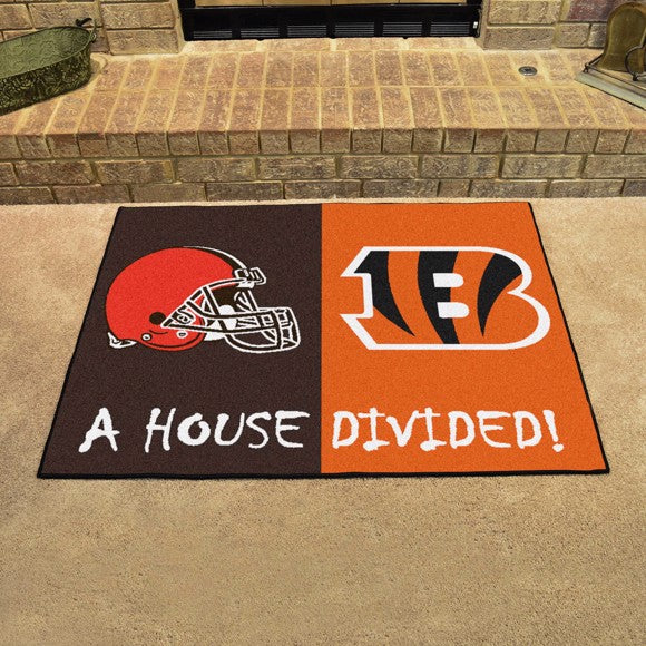 "NFL House Divided - Bengals / Browns 33.75"" x 42.5"""