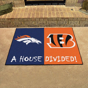 "NFL House Divided - Broncos / Bengals 33.75"" x 42.5"""