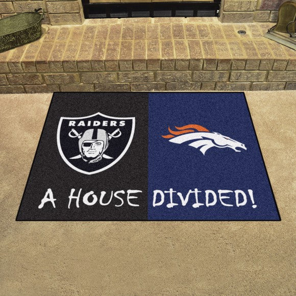 "NFL House Divided - Broncos / Raiders 33.75"" x 42.5"""