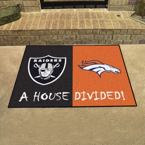 "NFL House Divided - Raiders / Broncos 33.75"" x 42.5"""