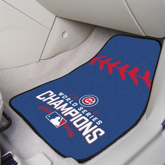 "MLB - Chicago Cubs 2016 World Series Champions Carpet Car Mat Set 17"" x 27"""