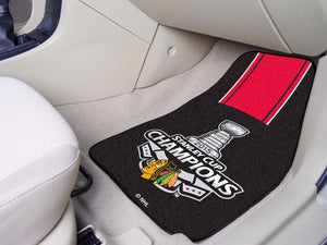 "NHL - Chicago Blackhawks 2015 Stanley Cup Champions Carpet Car Mat Set 17"" x 27"""