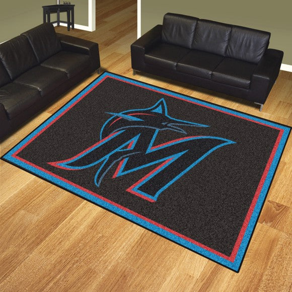 "MLB - Miami Marlins 8'x10' Plush Rug 87"" x 117"""