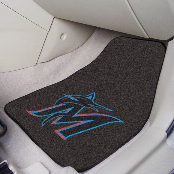 "MLB - Miami Marlins Carpet Car Mat Set 17"" x 27"""