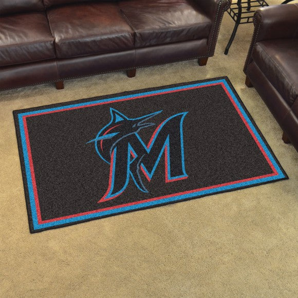 "MLB - Miami Marlins 4'x6' Plush Rug 44"" x 71"""
