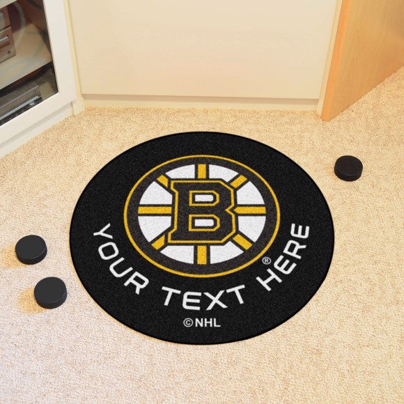 Boston Bruins Personalized Hockey Puck Mat