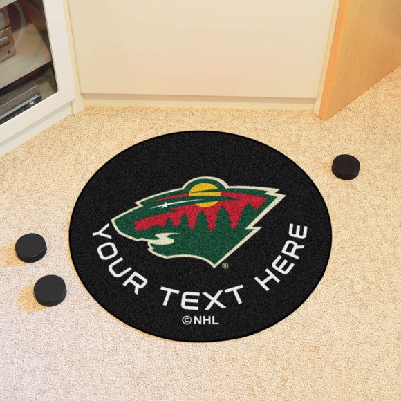 Minnesota Wild Personalized Hockey Puck Mat