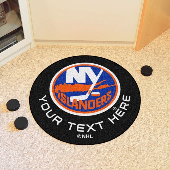 New York Islanders Personalized Hockey Puck Mat