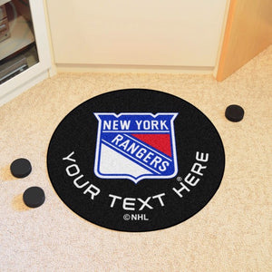 New York Rangers Personalized Hockey Puck Mat