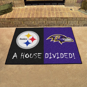 "NFL House Divided - Steelers / Ravens 33.75"" x 42.5"""